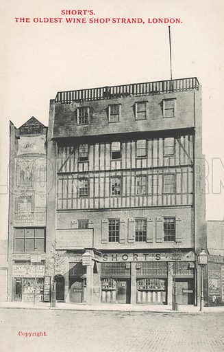 Short's, the oldest wine shop, Strand, London. Postcard, early 20th century.