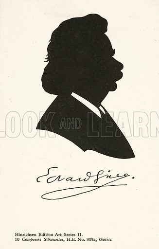 Edvard Grieg (1843-1907), Norwegian composer. Postcard, early 20th century.