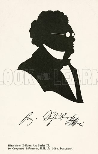 Franz Schubert (1797-1828), Austrian composer. Postcard, early 20th century.