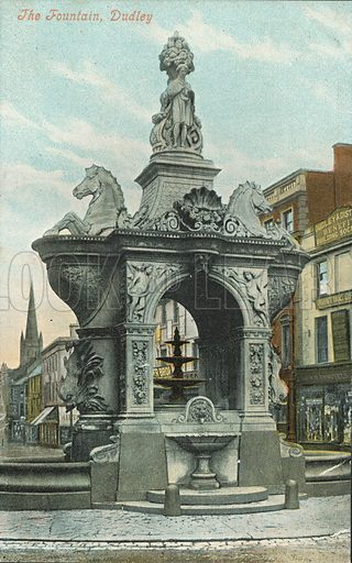 The Fountain, Dudley, Worcestershire. Postcard, early 20th century.
