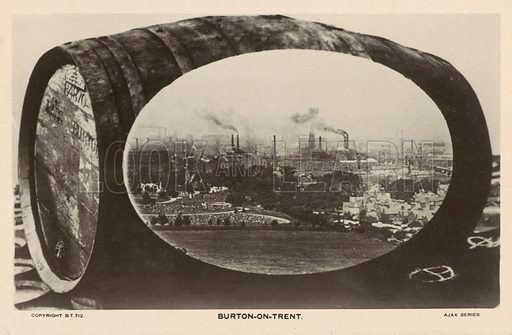 Burton-on-Trent, Staffordshire, traditional centre of the British brewing industry. Postcard, early 20th century.