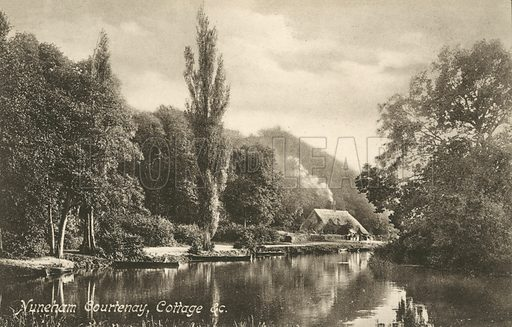 Cottage on the bank of the River Thames, Nuneham Courtenay, Oxfordshire. Postcard, early 20th century.