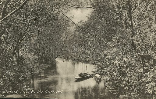 View on the River Cherwell, Oxford, Oxfordshire. Postcard, early 20th century.