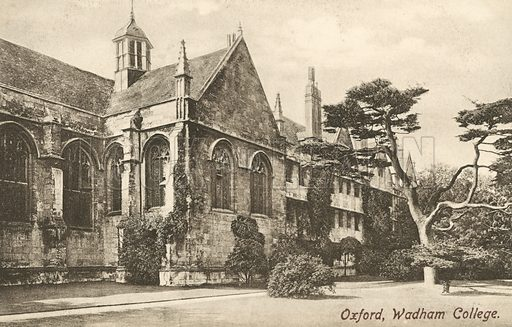 Wadham College, Oxford, Oxfordshire. Postcard, early 20th century.