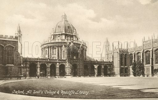 All Souls College and Radcliffe Library, Oxford, Oxfordshire. Postcard, early 20th century.