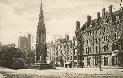 Martyrs' Memorial, Oxford, Oxfordshire. The monument commemorates the Protestant Oxford Martyrs burned at the stake in 1555 during the reign of Mary I. Postcard, early 20th century.