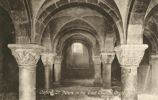 Crypt of the Church of St Peter in the East, Oxford, Oxfordshire. Postcard, early 20th century.