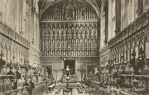 Magdalen College Chapel, Oxford, Oxfordshire. Postcard, early 20th century.