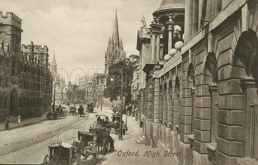 High Street, Oxford, Oxfordshire. Postcard, early 20th century.