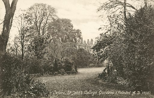 St John's College Gardens, Oxford, Oxfordshire. Postcard, early 20th century.