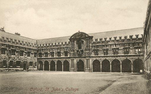 Canterbury Quad, St John's College, Oxford, Oxfordshire. Postcard, early 20th century.