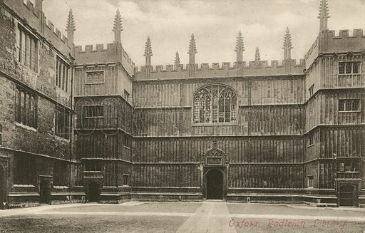 Bodleian Library, Oxford, Oxfordshire. Postcard, early 20th century.