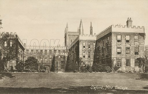 New College, Oxford, Oxfordshire. Postcard, early 20th century.
