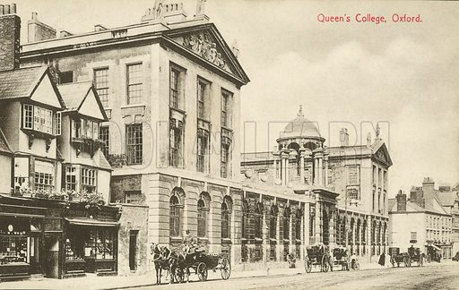 Queen's College, Oxford, Oxfordshire. Postcard, early 20th century.