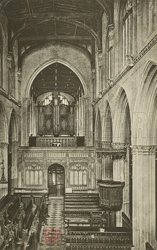 Interior of the University Church of St Mary the Virgin, Oxford, Oxfordshire. Postcard, early 20th century.