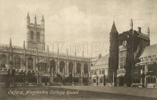Cloister Quad, Magdalen College, Oxford, Oxfordshire. Postcard, early 20th century.