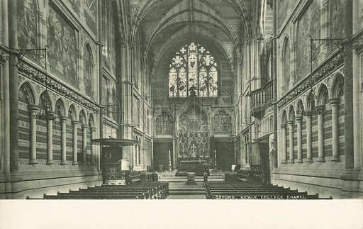 Keble College Chapel, Oxford, Oxfordshire. Postcard, early 20th century.