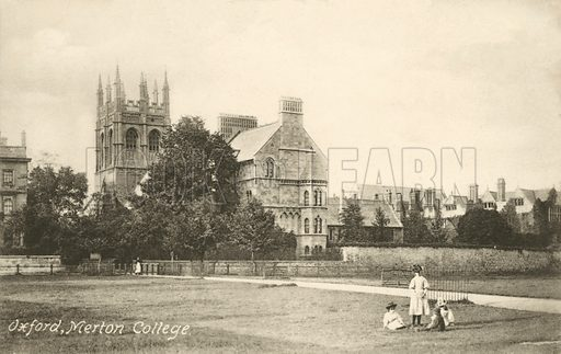 Merton College, Oxford, Oxfordshire. Postcard, early 20th century.