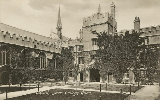 First Quad, Jesus College, Oxford, Oxfordshire. Postcard, early 20th century.