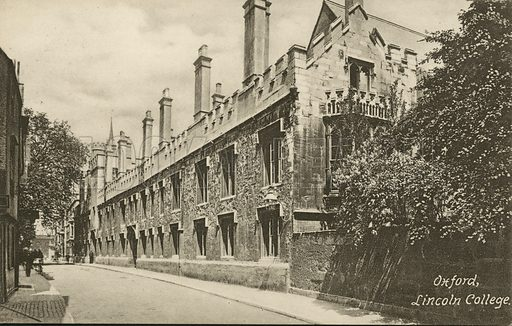 Lincoln College, Oxford, Oxfordshire. Postcard, early 20th century.