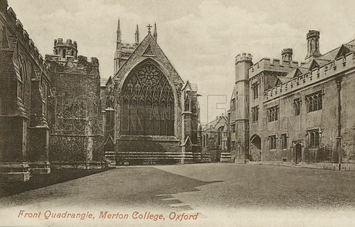 Front Quad, Merton College, Oxford, Oxfordshire. Postcard, early 20th century.