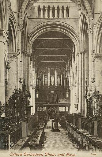 Choir and nave, Christ Church Cathedral, Oxford, Oxfordshire. Postcard, early 20th century.