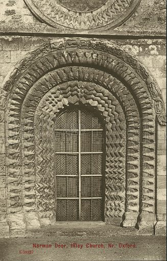 Norman door, Church of St Mary the Virgin, Iffley, Oxfordshire. Postcard, early 20th century.