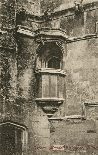 Outdoor pulpit, Magdalen College, Oxford, Oxfordshire. Postcard, early 20th century.