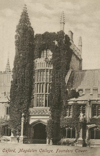 Founder's Tower, Magdalen College, Oxford, Oxfordshire. Postcard, early 20th century.
