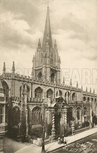 University Church of St Mary the Virgin, Oxford, Oxfordshire. Postcard, early 20th century.