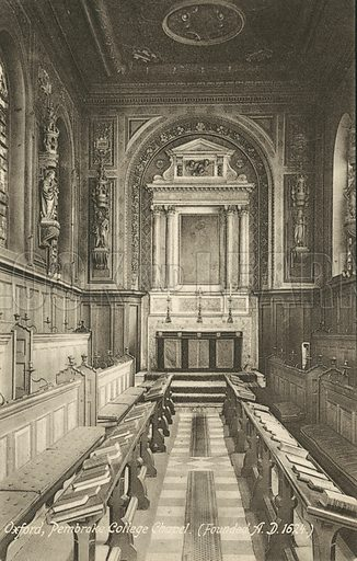 Interior, Pembroke College Chapel, Oxford, Oxfordshire. Postcard, early 20th century.