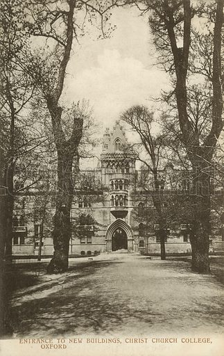 Entrance to New Buildings, Christ Church College, Oxford, Oxfordshire. Postcard, early 20th century.