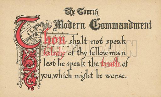 The Fourth Modern Commandment. Postcard, early 20th century.