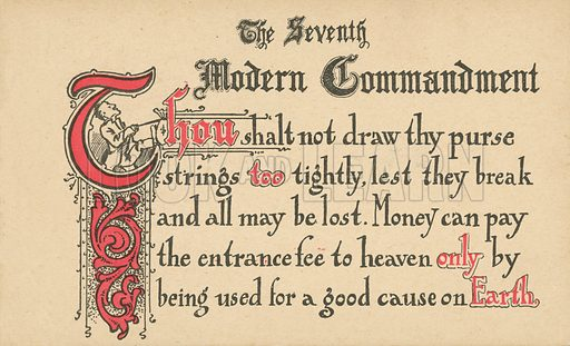 The Seventh Modern Commandment. Postcard, early 20th century.