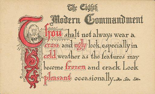 The Eighth Modern Commandment. Postcard, early 20th century.