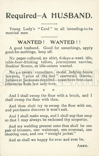 Required - a husband, humorous situations vacant notice. Postcard, early 20th century.