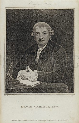 David Garrick (1717-1779), English actor, playwright and theatre manager. Illustration from The European Magazine.