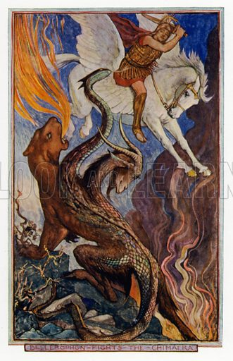 The Winged Horse: Bellerophon riding Pegasus and fighting the Chimera