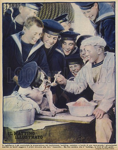British sea cadets from the training ship Warspite feeding their bulldog mascot the first spoonful of pudding