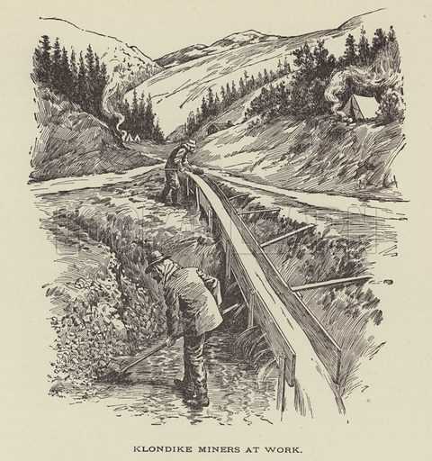 Klondike gold miners at work, Yukon, Canada, 1890s. Illustration for History and its Heroes by James Hunter (JM Moore, c 1890).