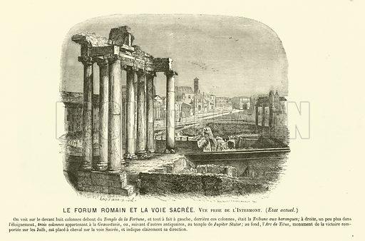 Forum Romanum and Via Sacra, Rome, Italy. Illustration for Vie De Cesar compiled by Henri De Montaut (Petit Journal, 1865).