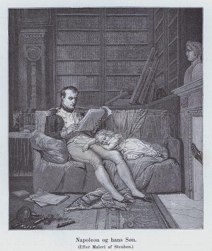 Napoleon I and his son. Illustration from Napoleon, by H C Bering Lisberg (Ernst Bojesens Kunstforlag, Copenhagen, 1894).