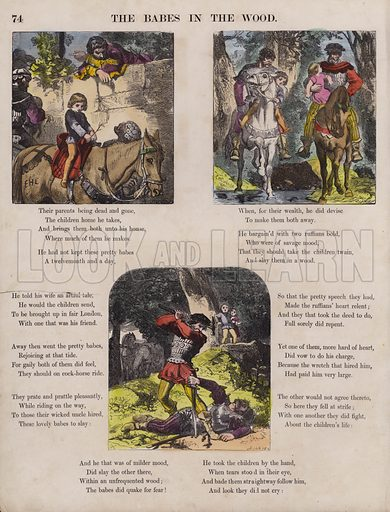 The Babes In The Wood.  Illustration for The Child's Picture Scrap Book (Routledge, c 1865).