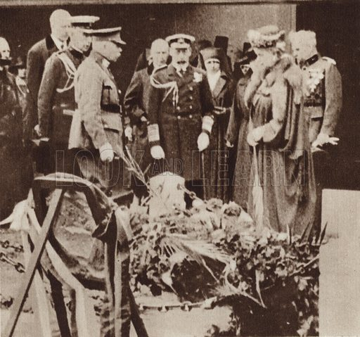 King George V paying tribute at Nurse Edith Cavell's Grave in Belgium