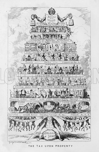 The tax on property, ie the costs of being rich. Illustration for The Comic Almanack with illustrations by George Cruikshank and other artists, First Series, 1835–1843 (John Camden Hotten, nd).