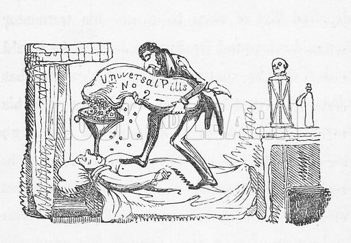 Universal pills.  Illustration for Cruikshank at Home (W Kidd, nd).