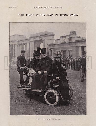 The Pennington Motor-Car, The First Motor-Car in Hyde Park, London.  Illustration for Black & White magazine, Diamond Jubilee Number, 22 June 1897.