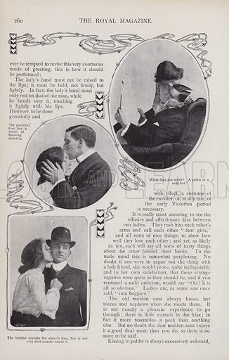 Page of an article on Kisses and Kissers from The Royal Magazine, 1902. Four pages in total.