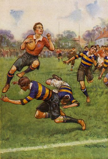 Rugby game, a jump into touch. Illustration for Schoolboy Stories (Blackie, c 1925).
