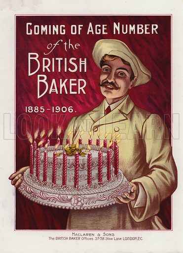 Baker with cake with 21 candles